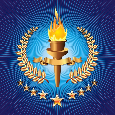 sports competition torch on blue background with star