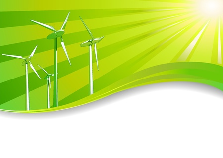 Ecology concept Renewable energies wind turbines background