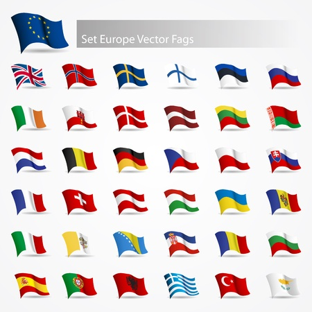 Moving flags set Europe flags on white background