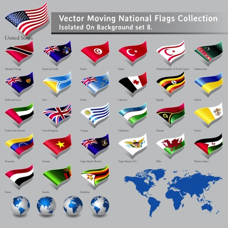 moving National Flags of the world isolated set 8