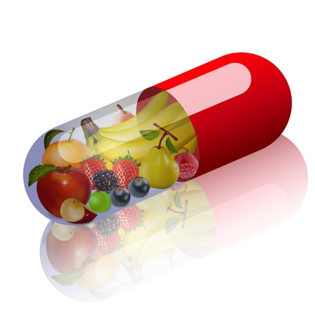 Illustration pour illustration of fruits in capsule concept vitamin from fruit - image libre de droit