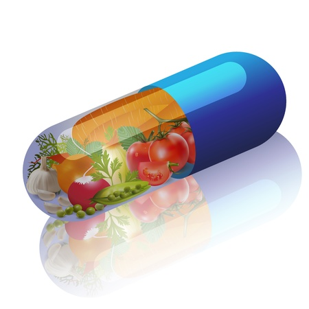 vegetables in capsule concept vitamin from vegetables
