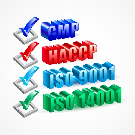 Check list GMP HACCP ISO 9001 and 14001 system