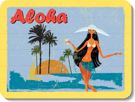 Illustration pour vintage wooden decoration wall with aloha - image libre de droit
