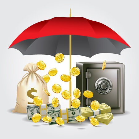 protecting money and save money concept