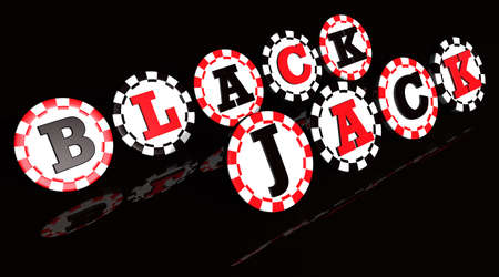 Blackjack sign on black and red colored chips.