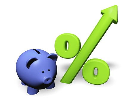 Funny piggy-bank or money-box with green growing percent symbol.