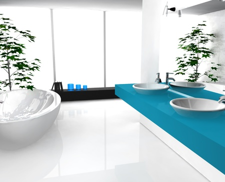 Modern luxurious bathroom with contemporary design and furniture, colored in black, cyan and white, 3d rendering.
