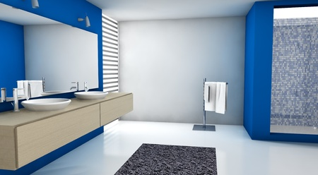 Contemporary bathroom with modern design and furniture, colored in blue, maple and white, 3d rendering