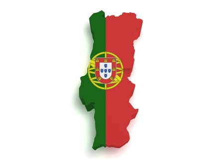 Shape 3d of Portuguese flag and map isolated on white background