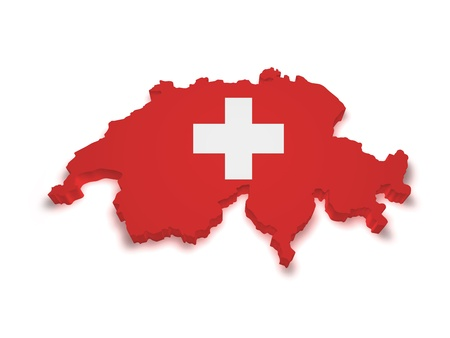 Shape 3d of Swiss flag and map isolated on white background