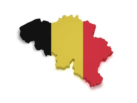 Shape 3d of Belgian flag and map isolated on white background