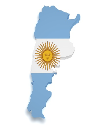 Shape 3d of Argentinian flag and map isolated on white background