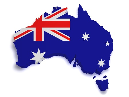 Shape 3d of Australian flag and map isolated on white background