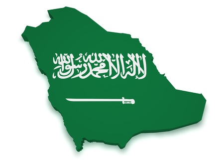 Shape 3d of Saudi Arabia flag and map isolated on white background.