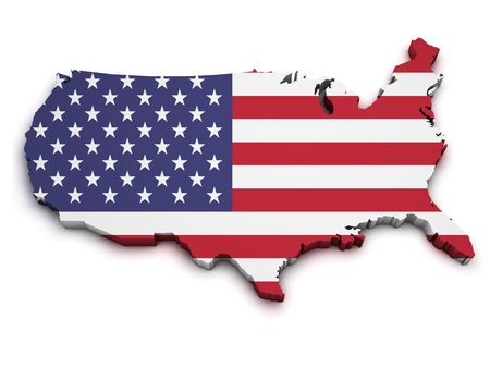 Shape 3d of United States Of America map with flag isolated on white background