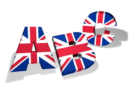 English language school and education concept with the letters Abc and the colors of The United Kingdom flag on white background