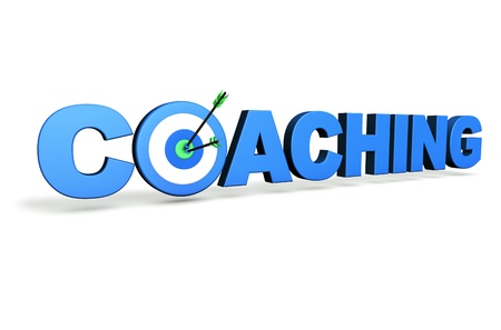 Hit the mark and business goals concept with blue coaching sign, target and arrows on white background