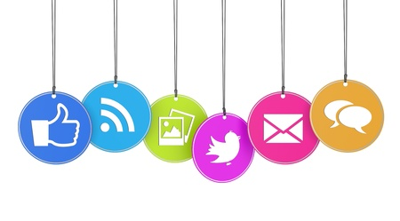 Website and Internet concept with social media icons on colorful hanged tags isolated on white background