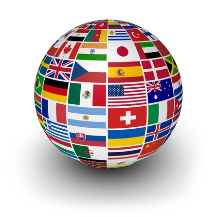 Travel, services and international business concept with a globe and international flags of the world on white background