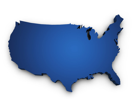 Shape 3d of USA United States Of America map colored in blue ...