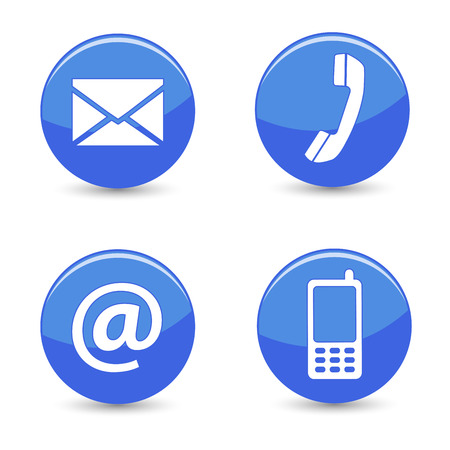 Website and Internet contact us page concept with blue glossy buttons and icons isolated on white background