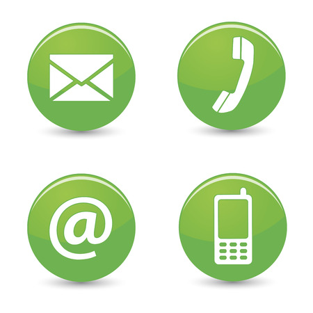 Website and Internet contact us page concept with green glossy buttons and icons isolated on white background