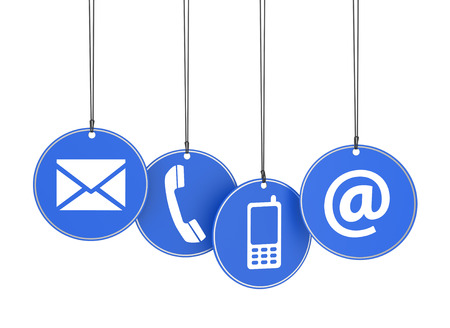 Website and Internet contact us page concept with icons on four blue hanged tags on white background