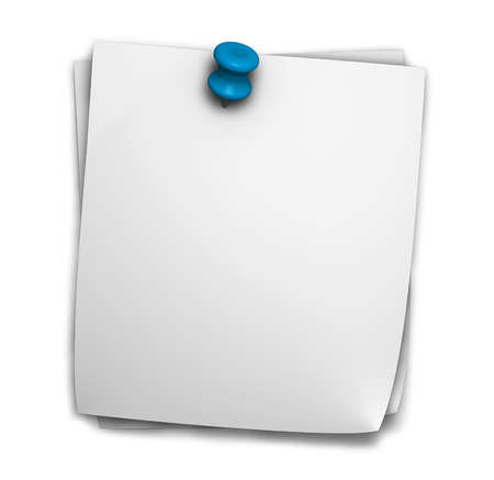 Blank note paper post it for office and business notes with blue push pin and shadow isolated on white background