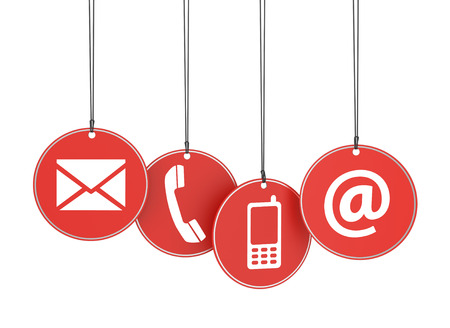 Website and Internet contact us page concept with icons on four red hanged tags on white background