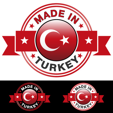 Illustration pour Made in Turkey label and icon with ribbon and central glossy Turkish flag symbol   - image libre de droit