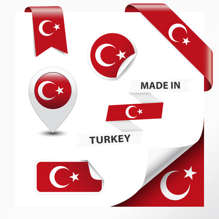 Made in Turkey collection of ribbon, label, stickers, pointer, badge, icon and page curl with Turkish flag symbol on design element  Vector EPS10 illustration isolated on white background