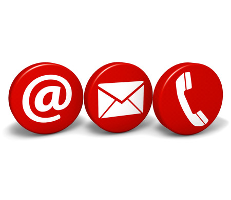 Web and Internet contact us concept with email, at and telephone icons and symbol on three red round buttons isolated on white background