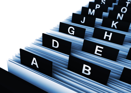 Business concept with a 3d rendering close-up view of a office customers directory archive with alphabet letters.