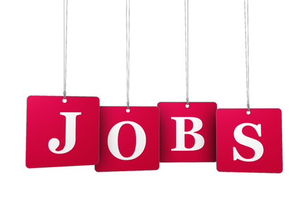 Employment, work and job concept with jobs sign on red tags for website and online business.