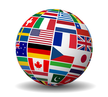 Travel, services and international business management concept with a globe and international flags of the world vector EPS 10 illustration isolated on white background.