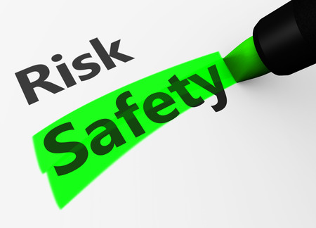 Photo pour Safety and security concept with a 3d rendering of risk text and safety word highlighted with a green marker. - image libre de droit