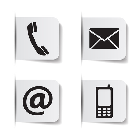 Ilustración de Web contact us black icons with telephone, email, mobile phone and at symbol on paper labels with shadow effects EPS 10 vector illustration isolated on white background. - Imagen libre de derechos