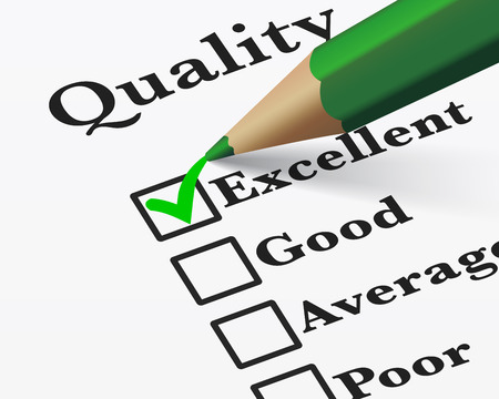 Illustration pour Quality control survey business products and customer service checklist with excellent word checked with a green check mark EPS 10 vector illustration. - image libre de droit
