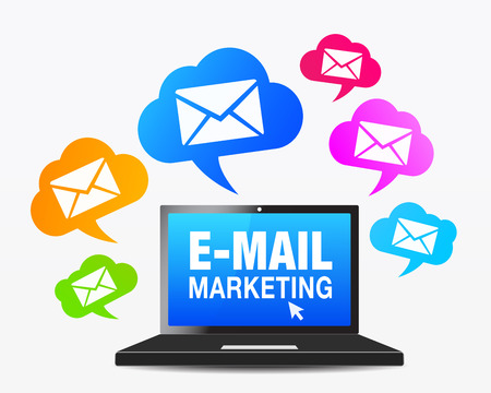Foto de E-mail marketing concept with a laptop computer and a moltitude of email icon and symbol on colorful speech clouds, vector EPS 10 illustration. - Imagen libre de derechos