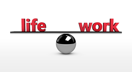 Work-life balance conceptual 3d illustration with life and work red sign balancing on a metal sphere.