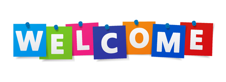 Illustration pour Welcome word and sign on colorful paper notes vector EPS 10 illustration on white background. - image libre de droit