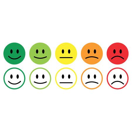 Illustrazione per Five smile icon emotions satisfaction rating feedback vector. - Immagini Royalty Free