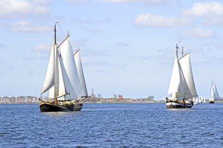 Traditional sailing ships on