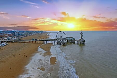 Photo pour Aerial from the city Scheveningen in the Netherlands at sunset - image libre de droit