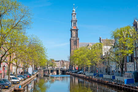 Photo pour City scenic from Amsterdam with the Westerkerk in the Netherlands - image libre de droit