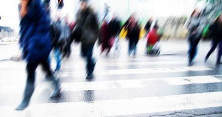 Pedestrian crossing rush. People moving motion