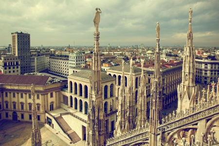 Milan, Italy architecture. View from Milan Cathedral on Royal Palace of Milan - Palazzo Realle.