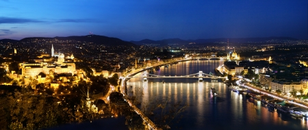 Budapest, Hungary panorama at night, Danube river. View from Gellert Hill