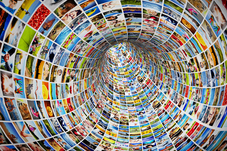 Tunnel of media, images, photographs  Tv, multimedia broadcast, streaming  All photos are mine  Concepts of television, adverstising, internet, entertainment
